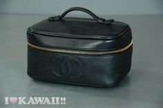Auth CHANEL Black Leather Vanity Bag Hand Purse Pouch Cosmetic Free Ship! #CHANEL #CosmeticBags
