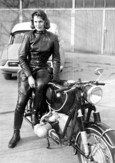 Anke Eve Goldmann was the first woman to ride a motorcycle with a one-piece leather racing suit, which she designed with German manufacturer Harro, developing one of the first ranges of protective motorcycling clothing suitably cut for women.