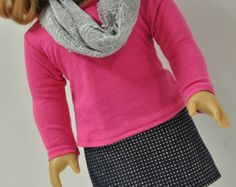 American Girl Doll Clothes Sparkly Rhinestone Denim Jean Mini Skirt  and Bright Pink T-shirt and Infinity Scarf 18 inch