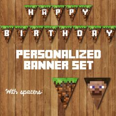 DIY Printable Personalized Minecraft Birthday Party Bunting Banner - You Print