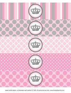 Artículos similares a Baby Shower or Birthday Party Little Pincess Crown - Print Water Bottle Labels Wrap - DIY Print Your Own en Etsy Baby Princess, Princess Birthday, Princess Party, Princess Cupcakes, Disney Princess, Printed Water Bottles, Water Bottle Labels, Baby Shower Templates, Baby Sprinkle