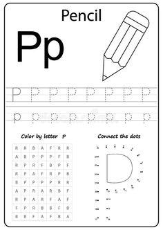 Cursive Letters Worksheet, Letter P Activities, Letter Tracing Worksheets, Kindergarten Worksheets, Preschool Writing, Preschool Letters, Kids Writing, Letter Sorting, Teaching Letters