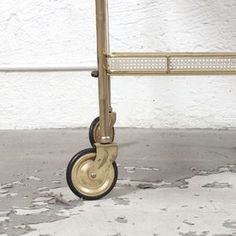 Italian Rolling Drink Cart in White Perforated Metal   Brass • Dusty Deco • Tictail