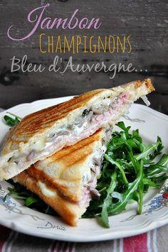 Croque-Monsieur au jambon, cantal et champignons - La cuisine de Doria