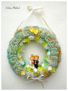 """Couronne de mariage """"Morgane et Jeani"""". Déco de mariage avec les prénoms des mariés (personnalisable) : Décorations murales par perles-et-couronnes"""
