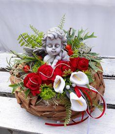Summer Flower Arrangements, Summer Flowers, Floral Arrangements, Grave Decorations, Table Decorations, Diy Wreath, Wreaths, Christmas Crafts, Christmas Decorations