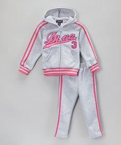 Loving this Gray 'Diva' Hoodie & Track Pants - Toddler & Girls on #zulily! #zulilyfinds