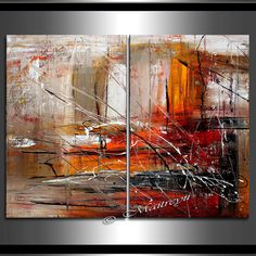 Red Orange ABSTRACT PAINTING ORIGINAL Art on by largeartwork