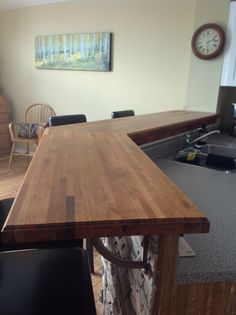 """We stained it with minwax Early American and sealed with 3 coats of Minwax """"Helmsman"""" polyurethane"""
