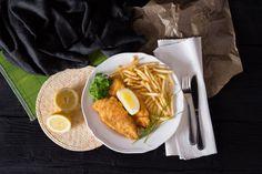 Jedlo - vyprážaná ryba s hranolkami