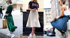 saia-plissada-midi-com-tenis-1 Ideias Fashion, Midi Skirt, Curves, Skirts, Skirt Pleated, World Of Fashion, Jeans Pants, Models, Tall Clothing