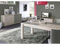 Table 95 cm avec allonge VA PIANO coloris chêne naturel et taupe prix promo Table Conforama 391.50 €