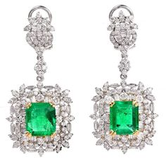 Emerald Diamond Dangle Drop Earrings | From a unique collection of vintage dangle earrings at https://www.1stdibs.com/jewelry/earrings/dangle-earrings/