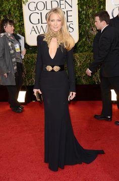 Kate Hudson in deep neckline black Alexander McQueen70th #GoldenGlobes