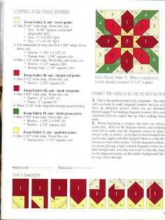 Cutting and assembly instructions for poinsettia quilt block Quilt Square Patterns, Jelly Roll Quilt Patterns, Paper Piecing Patterns, Quilt Patterns Free, Pattern Blocks, Square Quilt, Quilting Tutorials, Quilting Projects, Tutorial Patchwork