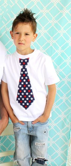 Patriotic Tie Tee T-Shirt.  Any Size, Short Sleeves, Summer Stars and Stripes, 4th of July Tie Shirt.  Boys, Toddler, and Baby.. $17.50, via Etsy.