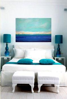 El color azul en decoración Teal Beach Bedroom, Teal Bedroom Decor, Bedroom Turquoise, Bedroom Ideas, Bedroom Designs, Beach Room, Beach Art, Chic Beach House, Beach House Decor