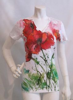 Bright red poppy Bliss hand painted by MarlaAlexandraART on Etsy, $48.00