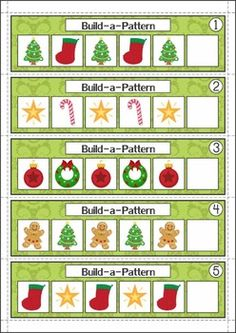 Christmas Math Centers for Kindergarten 87 pages. A page from the unit: Patterns (AB/AAB/AABB/ABC)