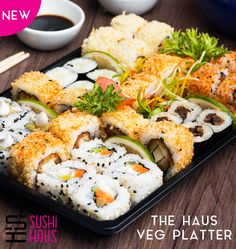 Go Green Thursday!! Try this Delicious assorted #sushi #platter #thehausvegplatter. Call us on 9555400100 or Order online www.sushihaus.in