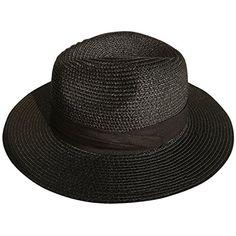 d9023ed6c06 Lanzom Women Wide Brim Straw Panama Roll up Hat Fedora Beach Sun Hat  (Black)  Women Wide Brim Straw Panama Roll up Hat Fedora Beach Sun Hat br  br Features ...