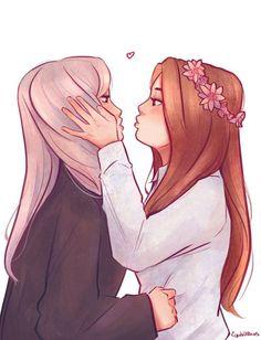 Couples Anime, Cute Lesbian Couples, Lesbian Art, Lesbian Love, Gay Art, Anime Girlxgirl, Yuri Anime, Girl Couple, Couple Art