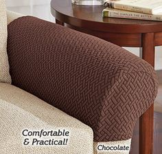 Chenille Pair of Rounded Arm Caps Sofa Furniture Cover Antimacassar Red Wine