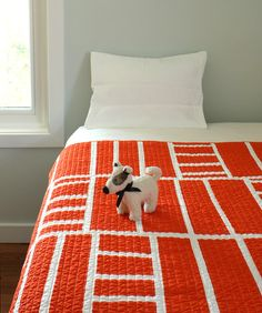 Contemporary Baby Blanket - Tangerine Ladders