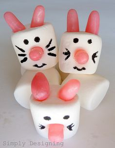 Grab some large marshmallows, candies for the ears and nose (I used Tropical Fruit Mike and Ike's) and your black edible marker (you can find these in the cake decorating part of most craft stores)  and have some fun creating different spring animals!