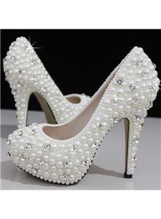 $ 98.99 Cute Closed Toe Handwork Pearl Stiletto Heel Wedding Shoes