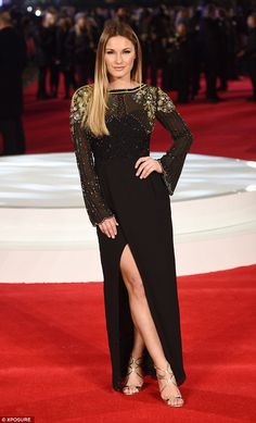 f8f01912b04 Sam Faiers dazzles in embellished thigh-split gown at Focus premiere