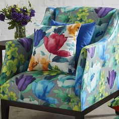 Tuileries   Warwick Fabrics Australia Two Seater Couch, Upholstered Chairs, Upholstered Headboards, Warwick Fabrics, Soft Furnishings, Satin Fabric, Upholstery, Cushions, Curtains