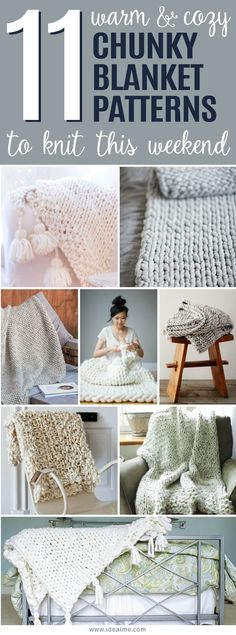 We've hunted down some of the most beautiful chunky knit blanket patterns that you'll definitely want to start knitting this weekend. strickdecke bett 11 Cozy Chunky Blankets You'll Want to Knit This Weekend - Ideal Me Finger Knitting, Arm Knitting, Knitting Stitches, Knitting Needles, How To Start Knitting, How To Purl Knit, Chunky Knitting Patterns, Knit Blanket Patterns, Crochet Patterns