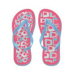Retro Pink and Blue Flip Flops> Flip Flops> Accessories by Zandiepants