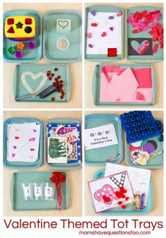 Valentine Themed Tot School Trays from Moms Have Questions Too
