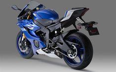 Yamaha YZF-R6, 2017, 4k, blue sportbike, rear view, racing motorcycle, Japanese motorcycles, Yamaha