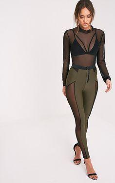 Costume like. Combat Girl (Safiya Khaki Hook And Eye Sheer Panelled Leggings Image 1)