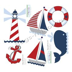 Nautical Decal Stickers Red White Blue Boy Wall Graphics Sailing Ocean Vinyl Mural Sticker Decals Childrens Nursery Baby Room Decor Boys Bedroom Walls Decorations Boat Whale Light House Childs Murals Bugs-n-Blooms Nautical Theme Decor, Nautical Nursery, Baby Nursery Decor, Nautical Interior, Kids Wall Decals, Nursery Wall Decals, Wall Mural, Wall Stickers, Murals For Kids
