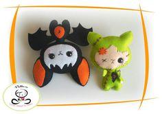 Set of Two Halloween ornaments patterns-PDF file-Baby Bat