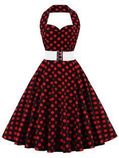 c276d502b3c31 Red 50s Halter Polka Dots Belt Vintage Style Dress
