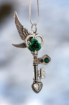 Double Wing Green Passion Key Necklace by KeypersCove on Etsy, $34.00