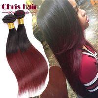 ombre brazilian hair straight  Wave 6A Brazilian Human Hair Weave Bundles Omber 3Pcs lot 1B/99J#  weave ombre hair bundles