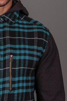 KR3W Torrance L/S Hooded Flannel Shirt