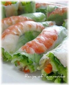 Chinese Food, Japanese Food, Asian Recipes, Ethnic Recipes, Yummy Food, Tasty, Spring Rolls, Daily Meals, Fresh Rolls