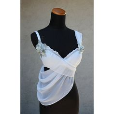 Greek Goddess draped top ❤ liked on Polyvore featuring tops, party tops, white singlet, bridal party tank tops, bridal party tanks and silver tank top