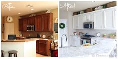 Does your kitchen look outdated? It is possible to give your kitchen a new a look with a simple kitchen cabinets makeover. Simple Kitchen Cabinets, Kitchen Cabinets Before And After, Painting Kitchen Cabinets White, Painting Oak Cabinets, Refacing Kitchen Cabinets, Kitchen Paint, New Kitchen, White Cabinets, Cabinet Refacing