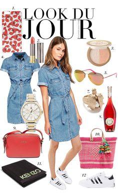 Look Du Jour: Badeschwarz. Denim dress+white sneakers+red shoulder bag or pink straw bag+aviator sunglasses. summer outfit 2016
