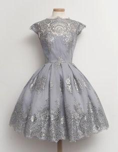 dress vintage 50s retro sequins bridal vintage dress lace dress tulle dress silver dress silver lace