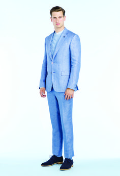 Ocean blue silk checked jacquard dinner jacket, Light blue pleated ...