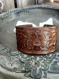 Boho Vintage Leather Cuff (from a belt) with Lace Ribbon